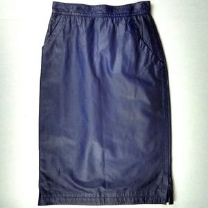 Genny S.P.A. Purple Leather Lined Pencil Skirt